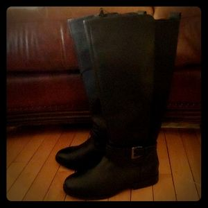 Women's black faux leather high boots NWT